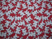 Red Teddy Dress Fabric –Polycotton – 112 cm wide