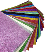 "21 pcs 8"" x 13"" (20cm x 34cm) Shiny Superfine Glitter Fabric Canvas Back Craft DIY Craft Assorted Colours"