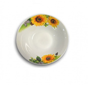 "'High Quality White Porcelain Deep Plate, Pack of 12 ""Sunflower Set of 18 cm in diameter."