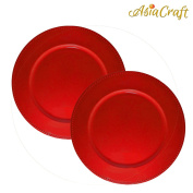 AsiaCraft ™ Red Beaded Metal Finish 36cm Charger Plate for Christmus, Wedding, Parties and Holidays