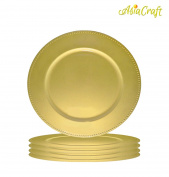 AsiaCraft ™ Golden Beaded Metal Finish 36cm Charger Plate for Christmus, Wedding, Parties and Holidays