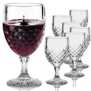 Evelyn Living 6 x Clear Crystal Effect Plastic Wine Glasses Drinking Party BBQ Wedding Drinks