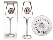 Champagne Glass Happy Birthday 18 Approximately 23 cm in PVC Box