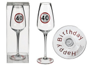Champagne Glasses Happy Birthday 40 Approx. 23 cm in PVC Box