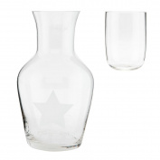 Clayre & Eef 6GL1555 Water Carafe Jug Glass Star Approx. Diameter 6 cm x 20 cm
