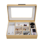 4Queens Jewellery Box - Classic Jewellery Organiser Display Holder for Earring Ring Necklace Bracelet -PU Leather Golden