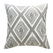 SLOW COW Cotton Canvas Embroidery Throw Cushion Pillow Covers Decorative Geometry, 46cm x 46cm .
