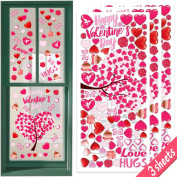 Ivenf 1.2m x 1.2m Extra Large Heart Valentine's Day Window Clings Decorations, Kids School Home Office Valentines Hearts Accessories Birthday Party Supplies Gifts, Pink Set