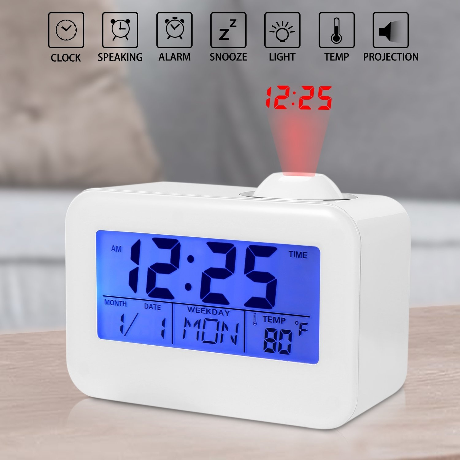 Projection clock ceiling alarm clock ceiling time projector projection clock ceiling alarm clock ceiling time projector digital clock with led backlightsnooze temperatureweekdate displaynot include battery mozeypictures Image collections