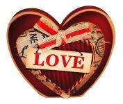 Tabletop Wooden Red Block Love Heart