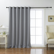 Best Home Fashion Wide Width Thermal Insulated Blackout Curtain - Antique Bronze Grommet Top - Grey - 200cm W x 210cm L -