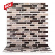 Tic Tac Tiles - 30cm x 30cm Premium Anti Mould Peel and Stick Wall Tile in Como Crema