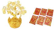 Chinese New Year 18cm Feng Shui Gold Money Fortune Coins Tree in Dragon Pot Bonsai with 6 Red Envelopes Home Decor Wealth Blessing Gift US Seller