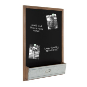 Kate and Laurel Industrious Wood Framed Magnetic Chalkboard with Pocket, Rustic Brown and Galvanised Metal