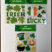 St Patricks Day Holiday Gel Clings Lucky Irish Shamrocks Pot of Gold Window Charms Decoration
