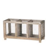 Sullivans 3 Compartment Wood & Metal Mesh Container