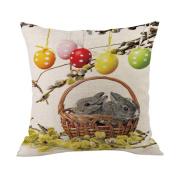 Sothread Easter Egg Rabbit Throw Pillowcase Soft Festival Decor Cushion Cover 45cm x 45cm