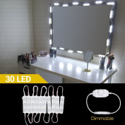 LED Makeup Mirror Light, Hollywood Style LED Vanity Mirror Lights DIY Lighting Fixture Strip Set Kits 30 LEDs/4m with UK Power Adapter and Rotate Dimmer for Makeup Dressing Table Bathroom Mirrors