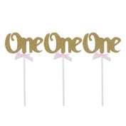 Cake Toppers,First Birthday Cupcake Toppers Glitter ONE 1st Years Party Decoration 12pcs