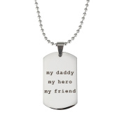 OULII Necklace for Father's Day Dad Gift My Daddy My Hero My Friend Stainless Steel Pendant Necklace Jewellery Gifts for Father