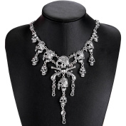 OULII Vintage Pirate Skull Necklace Gothic Statement Choker Collar Pendant Necklace