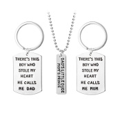 OULII 3pcs Dad Mom Son Charm Pendant Key Chain for Family Gift Christmas Birthday Gift