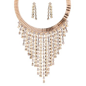 Tassel Necklace and Earrings OULII Novelty Fashion Jewellery Multi Layer Necklace Hoop Earring Costume for Women