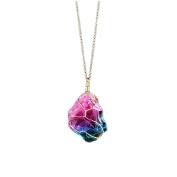 OULII Rainbow Irregular Crystal Necklace Neck Chain Pendant Gemstone Necklace for Women Girls