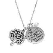 Necklace Gifts for Mom OULII Tree of Life Pendant Necklace Mother's Day Jewellery Gift Engraved Words Round Pendant Charm Necklace
