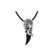GUAngqi Men's Stainless Steel Crystal Wolf Tooth Pendant Necklace ,black