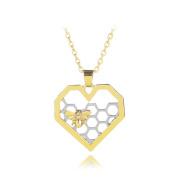 GUAngqi Women Heart Necklace Heart Honeycomb Bee Pendant Necklace