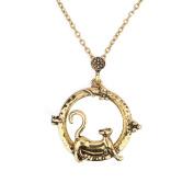 HS Magnifier Magnifying Glass Sliding Top Vintage Pendant Necklace Sweater Chain