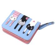 GUAngqi Women's Wallet Short Cartoon Cute Cat Wallet Coin Purse Bifold Purse
