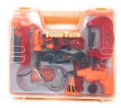 Kool Kidz Toy Tool Set with case includes toy drill, toy hammer, and pretend tools for toddlers