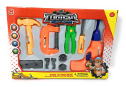 Kool Kidz Toy Tool Set with play tools includes plastic drill, toy hammer, and pretend tools for toddlers
