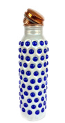 Rastogi Handicrafts White Colour Blue Stone Fixed Joint Less Pure Copper Water Bottle 950 ml Capacity
