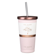 Ted Baker Tumbler and Straw   480ml   Stainless Steel   Pink