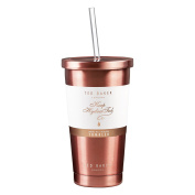 Ted Baker Tumbler and Straw   480ml   Stainless Steel   Rose Gold