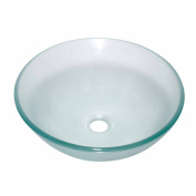 Clear Tempered Glass Sink with Drain, Round Frosted Bowl Sink