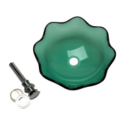 Green Tempered Glass Vessel Sink with Drain, Petal Style Single Layer Bowl Sink
