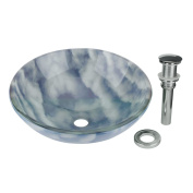 Tempered Glass Vessel Sink with Drain, Blue-White Cloud Design Bowl Sink