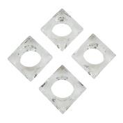 SARO LIFESTYLE Block Shape Glass Crystal Napkin Ring