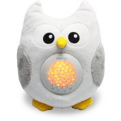 Bubzi Co Baby Sleep Aid Night Light & Shusher Sound Machine & Baby Gift, LED Star Projector & Portable Soother Stuffed Animal Owl with 10 Popular Songs & Kids Music to Comfort Plush Toy