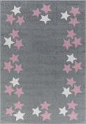 Kids rug Happy Rugs BORDERSTAR silver-grey/pink 160x230cm
