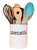 White Utensil Holder - Kitchen Utensil Crock to Organise Your Kitchen Gadgets and Cooking Gadgets and Utensils