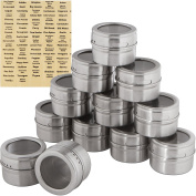 12 Magnetic Storage Spice Tins with Labels, and Clear Tops with Shake or Pour - Stainless Steel by Trademark Innovations