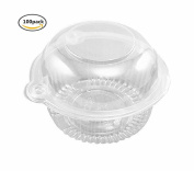 leoyoubei 100 pieces Clear Plastic Single Individual Cupcake Muffin Dome Holders Cases Boxes Cups Pods- Cupcake Carriers