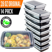 14 Pack- Chefible 830ml Meal Prep or Bento Containers, Durable, BPA-free, Reusable, Washable, Microwavable, Perfect for Diet and Portion Control!