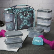 Fit & Fresh Jaxx FitPak Meal Prep Insulated Bag With Portion Control Container Set, Mint Crosshatch Clutter