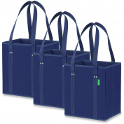 Reusable Grocery Shopping Box Bags (3 Pack - Blue), Premium Quality Heavy Duty Tote Bag Set with Extra Long Handles & Reinforced Bottom. Foldable, Collapsible, Durable & Eco Friendly